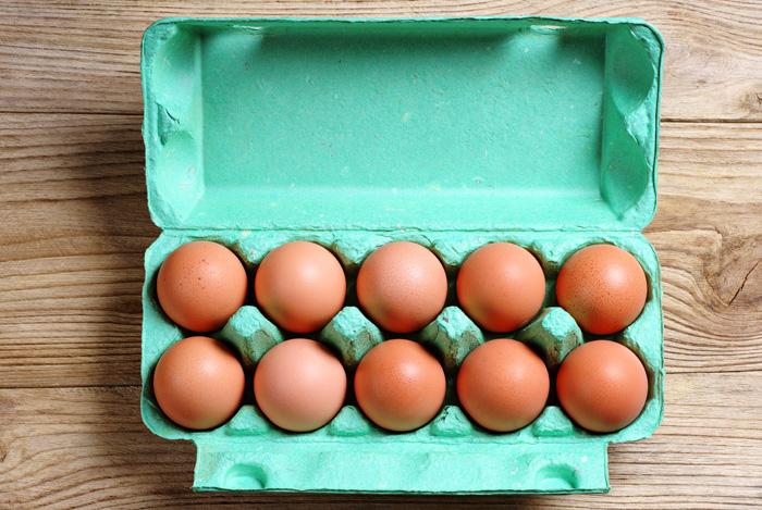 eggs in green carton