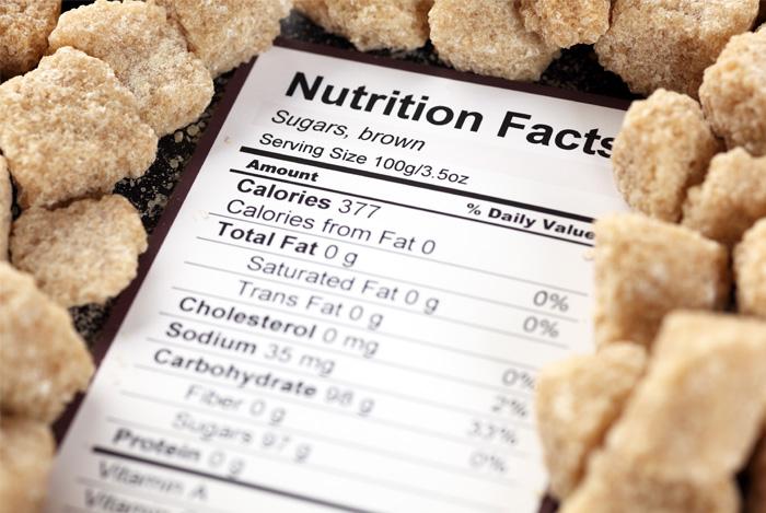 fat free content nutrition label sugar cubes