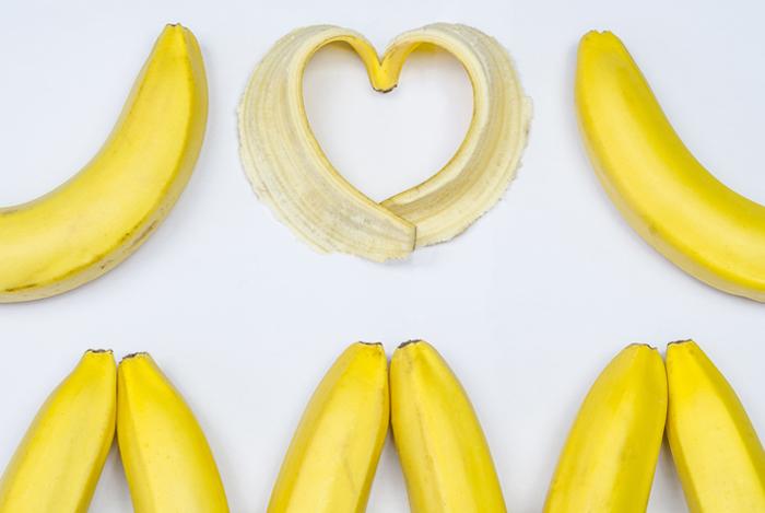 heart banana skin