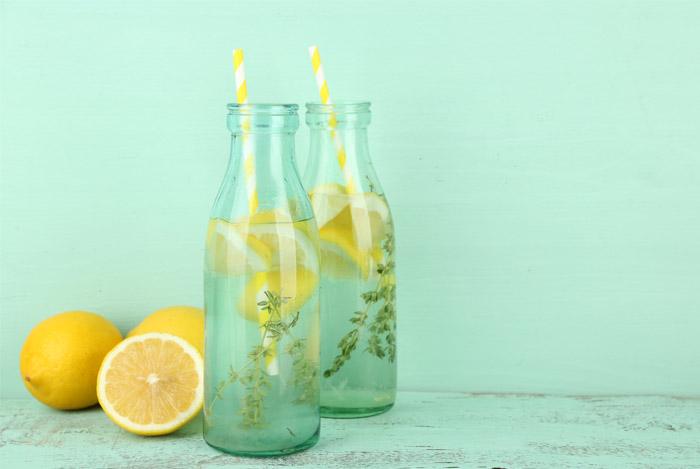 lemon water bottle mint