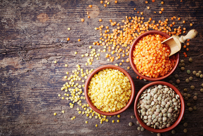 lentils red yellow brown
