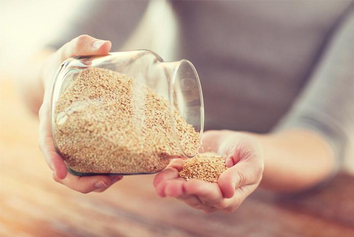 quinoa jar hands