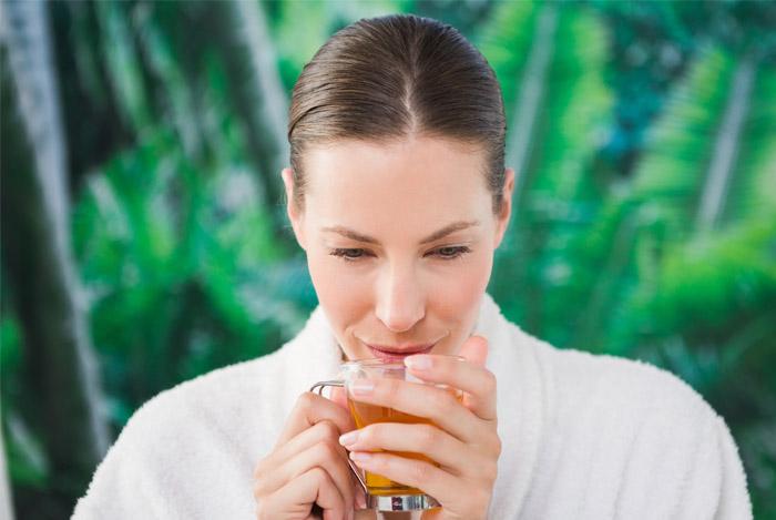 youthful woman skin drinking tea