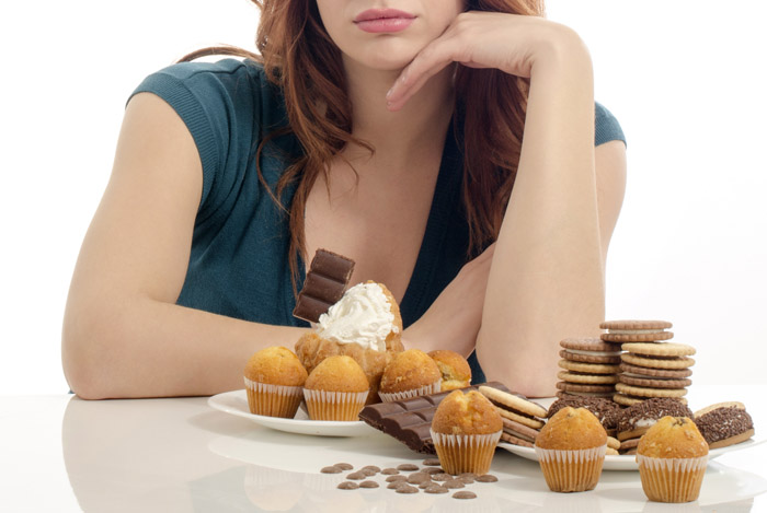 woman staring food addiction