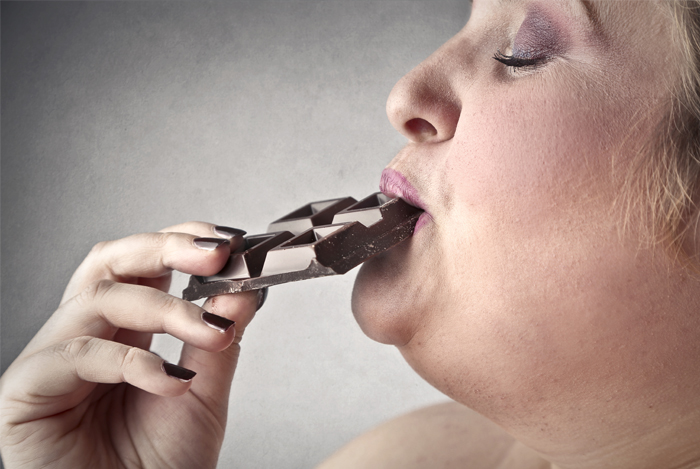 obese woman chocolate