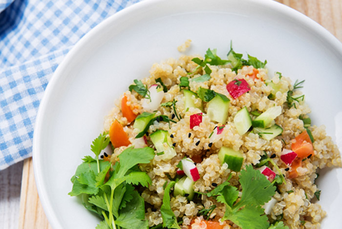quinoa salad plate close up