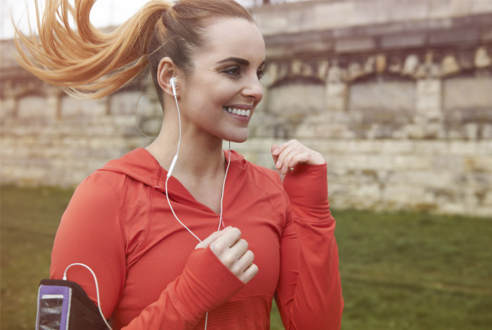 woman in red jogging