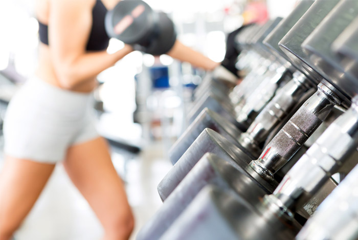 woman training at gym