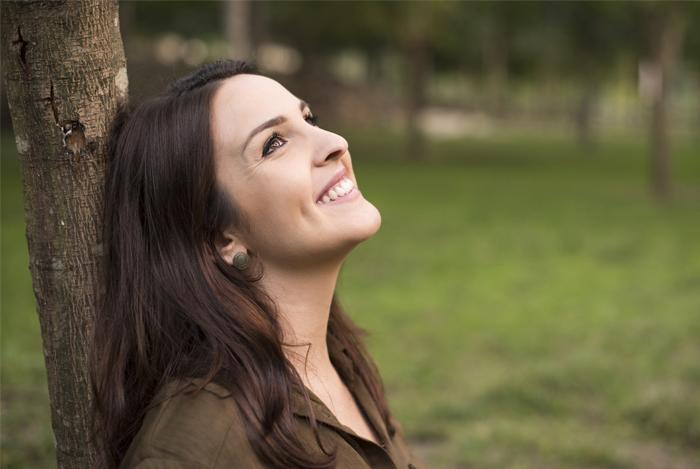 happy healthy woman nature