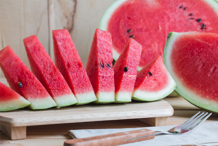 cutting board sliced watermelon