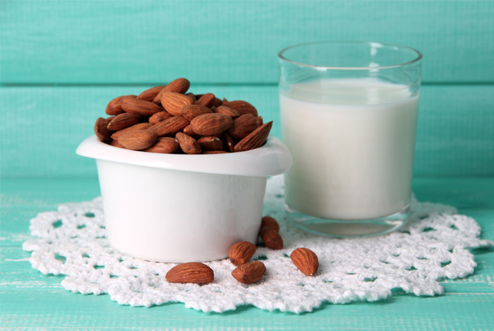 almonds glass milk