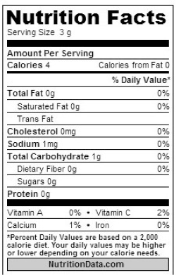 nutrition facts garlic