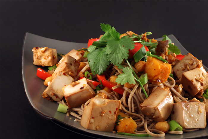 Spicy Pan-Fried Noodles with Tofu