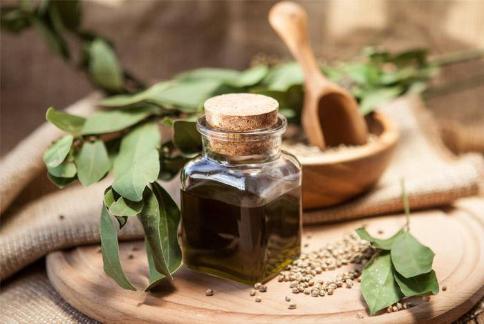 hemp seeds oil bottle
