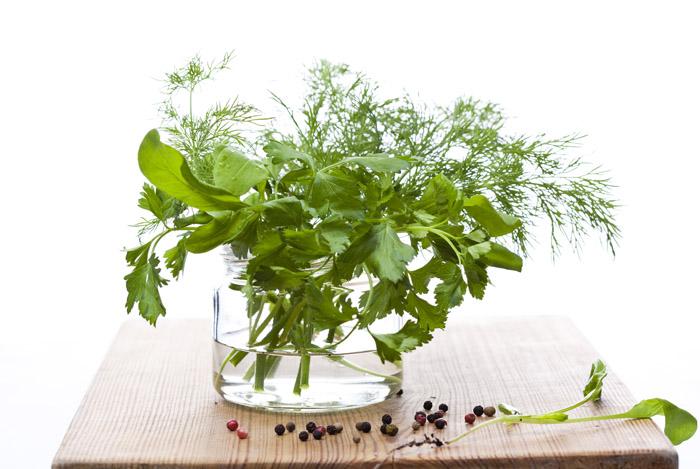 arrange fresh herbs