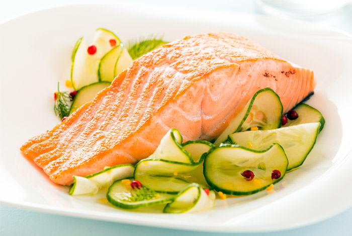 Salmon Fillet with Cucumber Ribbons